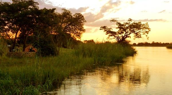 One of our shady campsites directly at the Okavango river