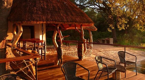 Okavango Island Bar at sunset